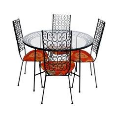 Mid-Century Modern Arthur Umanoff Grenada Metal Patio Set Table 4 Chairs Orange