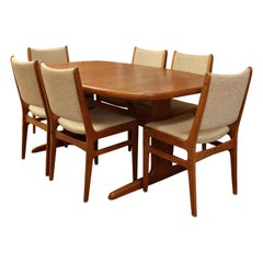 Mid Century Modern D Scan Danish Teak Dining Set Table & 6 Chairs 1960s 2 Leaves