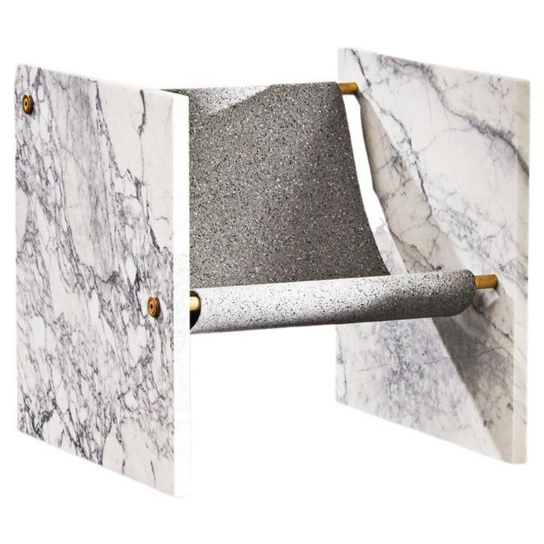 Marble, Brass, and Mohair Chair by Slash Objects