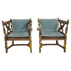 Mediterranean Spanish Revival Pair Ceruse Chairs Rush Seats Blue Loose Cushions