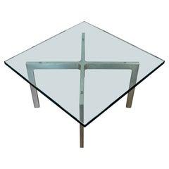 Mid-Century Modern Mies Van Der Rohe Brushed Steel Barcelona Side Table, 1970s