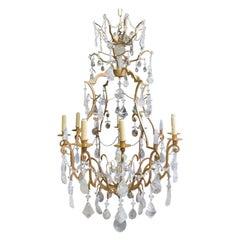 Rock Crystal 8 Light Gilt Chandelier, Louis XV Style