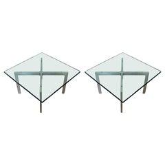 Mid-Century Modern Pair of Van Der Rohe Brushed Steel Barcelona Side Tables 70s