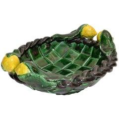 Marked Vallauris France Ceramic Lemon Basket Green & Yellow Mid-Century Modern