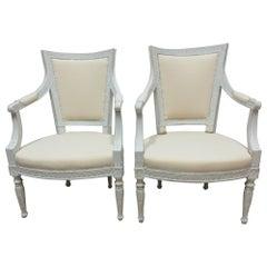 Original Painted Swedish Gustavian Arm Chairs