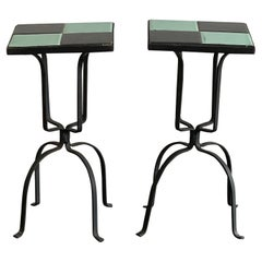 Pair of Wrought Iron and Tile Tables