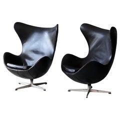 """Arne Jacobsen, """"Egg"""" Lounge Chairs, Black Leather, Fritz Hansen, Denmark, 1958"""