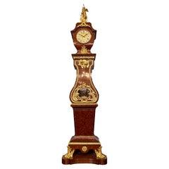 Antique French Napoleon III Ormolu Mounted Mahogany Grandfather Clock Circa 1880
