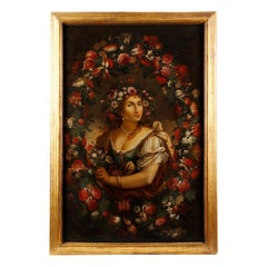 Spanish Oil on Canvas Painting Portrait of a Lady with Flowers, 19th Century