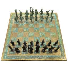 Brutalist 1960's Bronze Chess Set