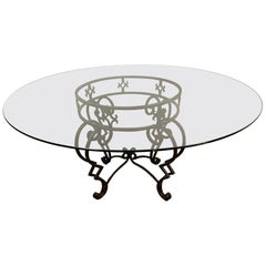 Round Baroque Style Metal Base and Glass Top Dining Table
