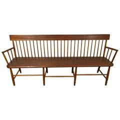 Antique American Windsor Spindle Back Deacons Bench Seat