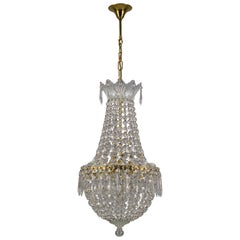 French Crystal Glass and Brass Three-Light Basket Chandelier