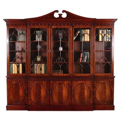 Vintage English Mahogany Georgian-Revival Breakfront Bookcase