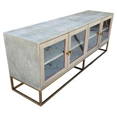 Modern Brass Tone & Shagreen Media/Sideboard Cabinet