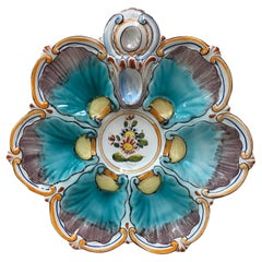 French Faience Oyster Plate Saint Clement, circa 1890