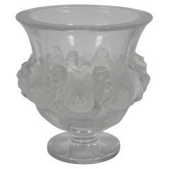 Lalique Crystal Dampierre Footed Vase Compote Dish Sparrows France Art Deco