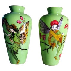 Opaline Green Pair of French Glass Jars with Hand Painted Sprites