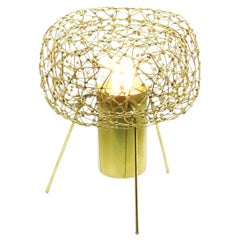 Halo-Ette by Ango, Hand-Welded Table Lamp in Brass Finish for the 21st Century