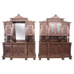 19th Century Italian Renaissance Style Walnut Carved Large Sideboards, Set of 2