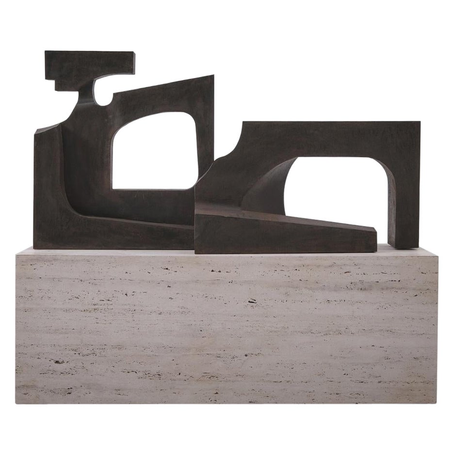 Cubist Steel Sculpture on Travertine Base, 1978