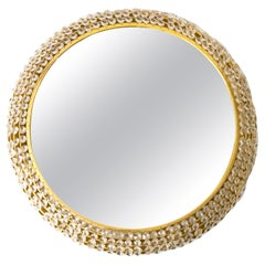 Palwa Gilded Brass Round Midcentury Modern Mirror Decorated with Crystals
