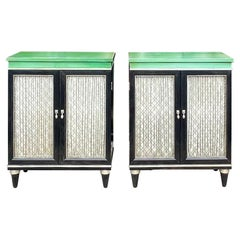Mid-Century Regency Style Green And Black Painted Cabinets / Side Tables, Pair