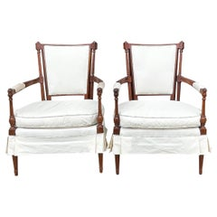 1960s French Style Carved Mahogany Skirted Bergere Chairs, Pair