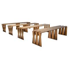 Dutch Pine Modular Puzzle Dining Tables, mid century modern