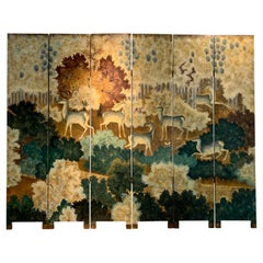 Art Deco Style Lacquer Painted and Wood Screen with Deer, Late 20th Century