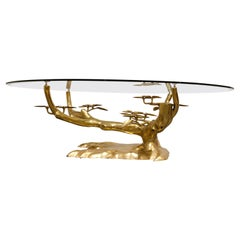Brass Bonsai Coffee Table by Willy Daro, 1970s