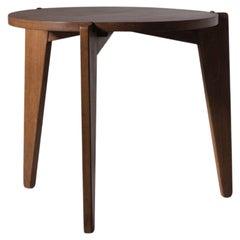Solid Oak wooden Tripod Table, France, 1950s