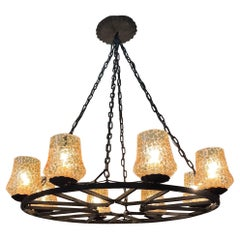 French Wrought Iron and Amber Glass Chandelier, circa 1950s