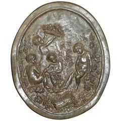 French Lead Plaque with Children Picking Grapes, Fruit & Vegetables 18th Century