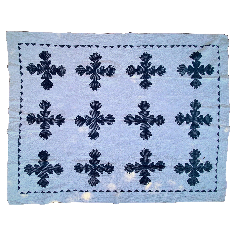 19thC Indigo & White Geometric Leaf Quilt