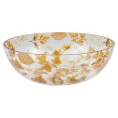 1970s Italian Resin Serving Bowl with Leaves Inclusions