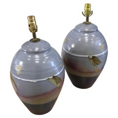 Pair of Studio Pottery Lamps