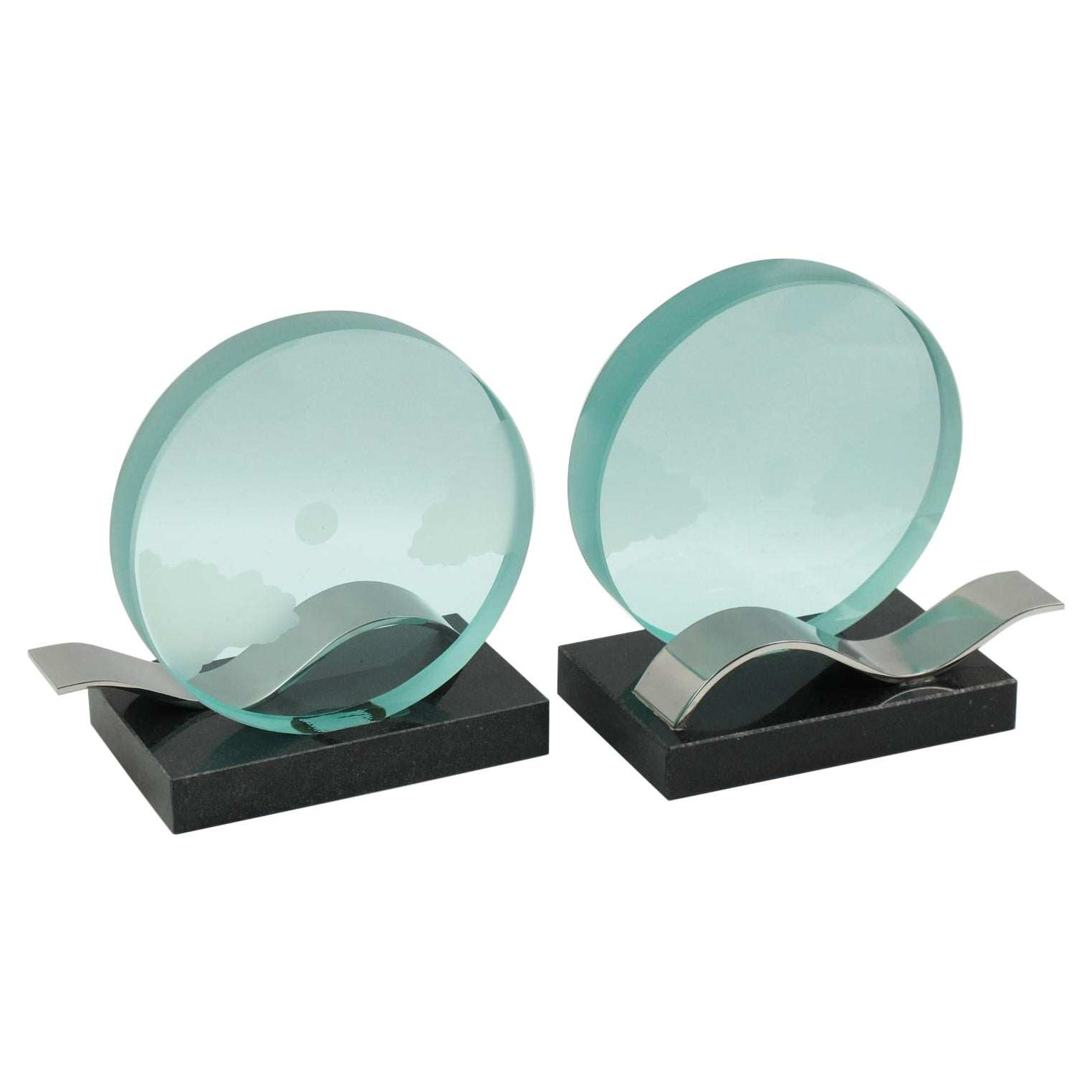French Modernist Bookends Black Granite and Etched Glass Slab