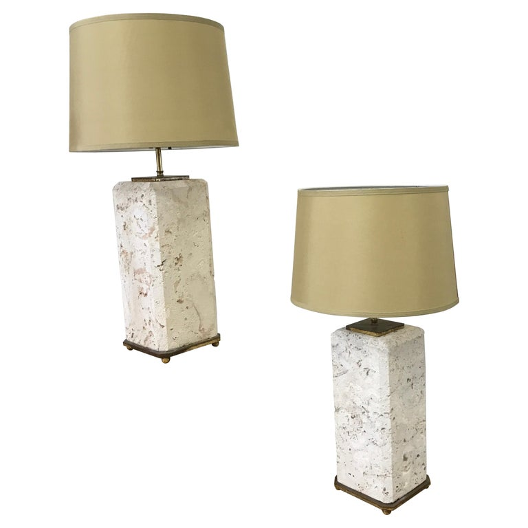 Pair of Coral Stone Lamps For Sale