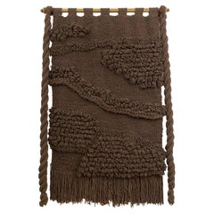 Huge Hand Woven Wool Wall Tapestry in Chocolate/Charcoal Tone