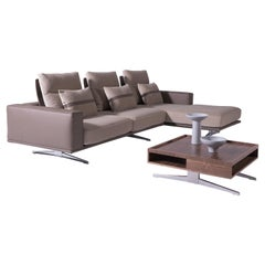 Carlton Modular Sectional in Champagne Fabric & Brown Italian Leather Upholstery