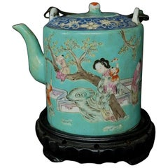 Antique Chinese Famille Rose Porcelain Teapot, 19th Century