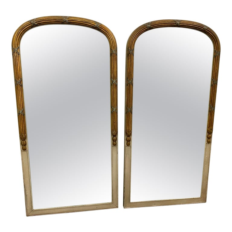 Pair of Paint Decorated Louis XVI Style Vanity Mirrors For Sale