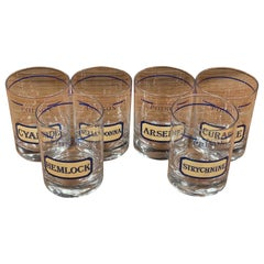 """Set of Six """"Name Your Poison"""" Cocktail Glasses by Cera for Neiman Marcus"""