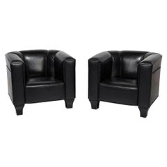 """Pair Josef Hoffmann """"Palais Stoclet"""" Leather Club Chairs"""