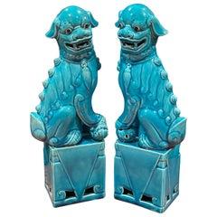 Pair of Midcentury Turquoise Blue Ceramic Foo Dog Sculptures