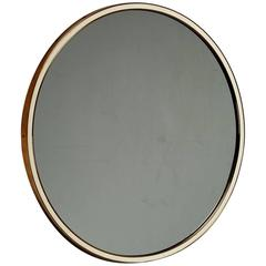 Wall Mirror in Round Brass Frame with White Rim, Germany, 1950s