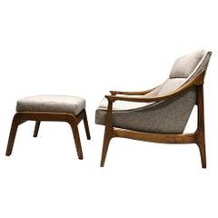 Sensationally Sleek Scandinavian Lounge Chair & Ottoman Restored Fresh 1960s Mod