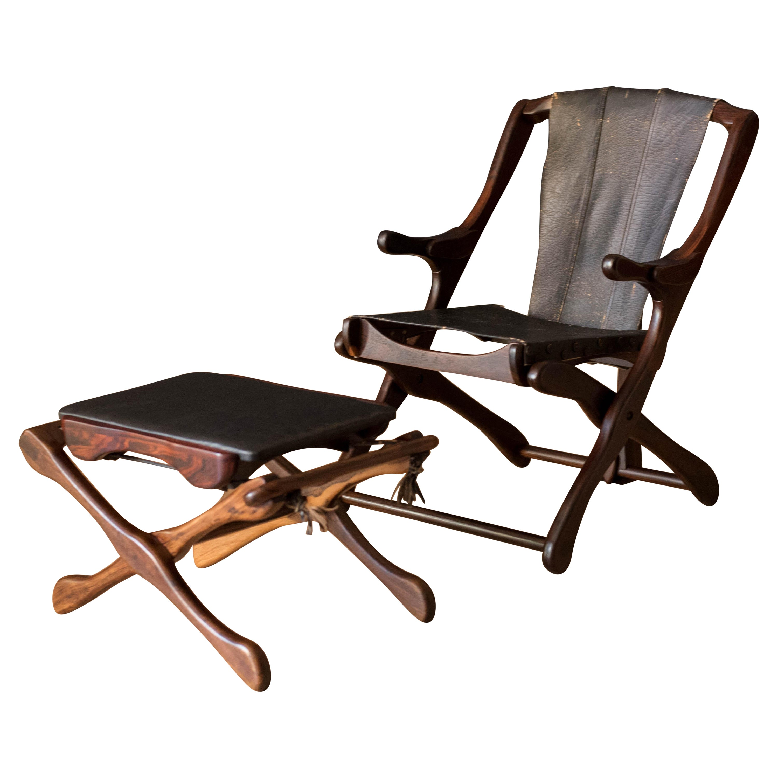 Sculptural Cocobolo Rosewood Leather Lounge Chair and Ottoman by Don Shoemaker