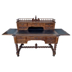 19th Carved Oak Renaissance Style Desk with Leather Top, Leaves and Gallery